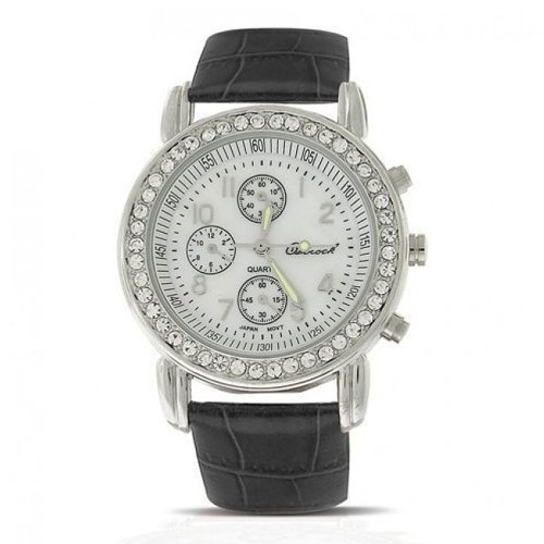 Geneva Round Black Leather Strap Stainless Steel Back Watch