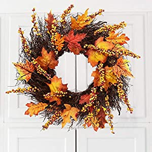 Artificial Sunflower Pumpkin Pinecone and Maple Leaf Wreath with Berry Lights for Halloween and Thanksgiving Home Indoor or Outdoor Arrangement Decoration 4