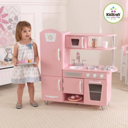KidKraft Vintage Wooden Play Kitchen, Pink 35.24 x 14.96 x 7.48 Inches