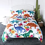 ARIGHTEX Boys Dinosaur Twin Size Bedding Watercolor Dinosaurs in Blue Green 3 Pieces Girly Flowers Duvet Cover Set