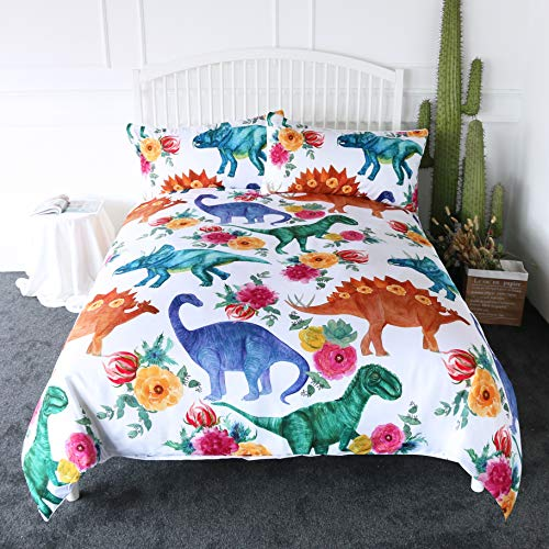 ARIGHTEX Cartoon Dinosaur Blue Green Duvet Cover Queen Teen Boys Bedding Kids Dino Themed Bedspread 3 Pieces (Duvet Green Cover Boy)