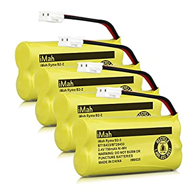 iMah Ryme B2-2 BT18433 BT28433 Cordless Phone Battery Pack for Vtech CS6219 CS6229 DS6301 DS6151 DS6101 BT184342 BT284342 BT-1011 BT-1018 BT-1022 BT-1031 Home Handset Telephone (Pack of 4)