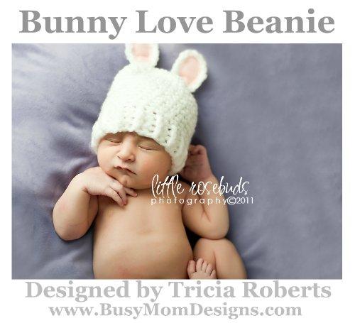 Crochet Pattern - Bunny Love Beanie - Hat Pattern by Busy Mom Designs