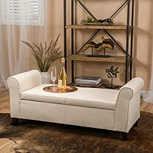 Sensational Christopher Knight Home Beige Fabric Armed Storage Ottoman Bench Andrewgaddart Wooden Chair Designs For Living Room Andrewgaddartcom