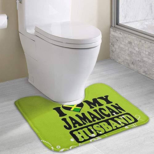 Bennett11 Jamaican Husband Jamaica Flag U-Shaped Toilet Floor Rug Non-Slip Toilet Carpets Bathroom Carpet 19.2″x15.7″