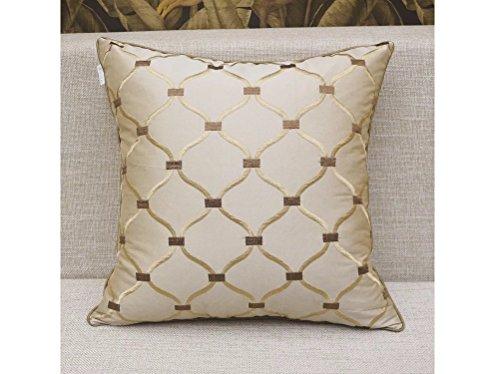 "HYSENM European Style Square 18""x18"" Lattice Floral Paisley Patterns Embroidery Decorative Throw Pillow Case Sham Cushion Cover Sofa Bed Car Coffee Shop Décor, Lattice 18""X18"""