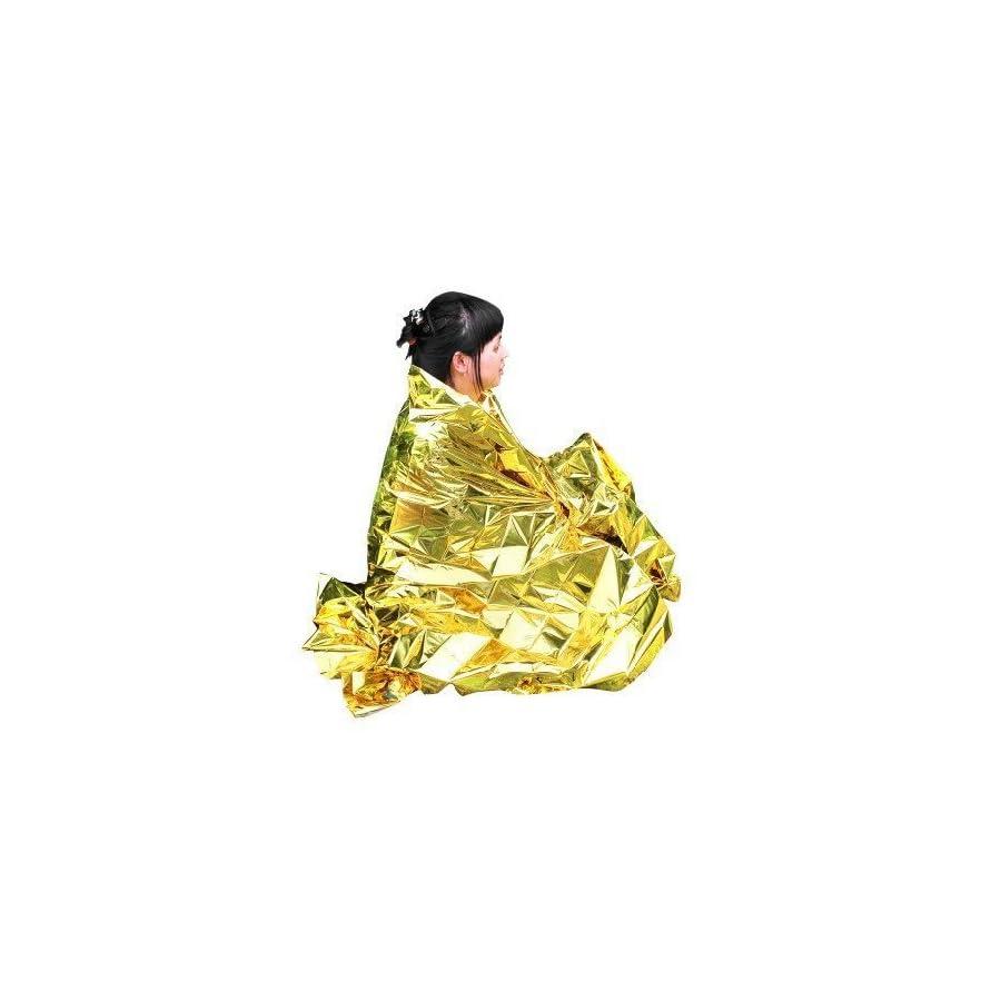 "Primacare FB 6831 Emergency Foil Silver & Gold Mylar Thermal Blanket, 62"" Length x 82"" Width (Pack of 10)"