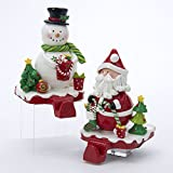 Kurt Adler Claydough Santa & Snowman Stocking Hangers With Felt Bottom (set OF 2)