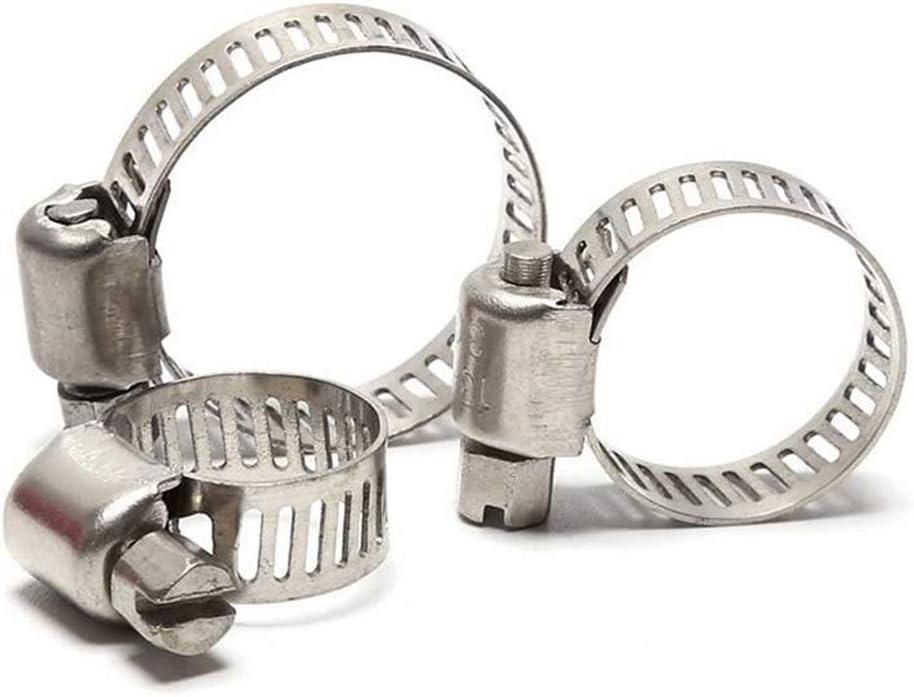 16-25 mm Paquete de 12 abrazaderas de manguera ajustables de acero inoxidable para tubos de accionamiento sin fin