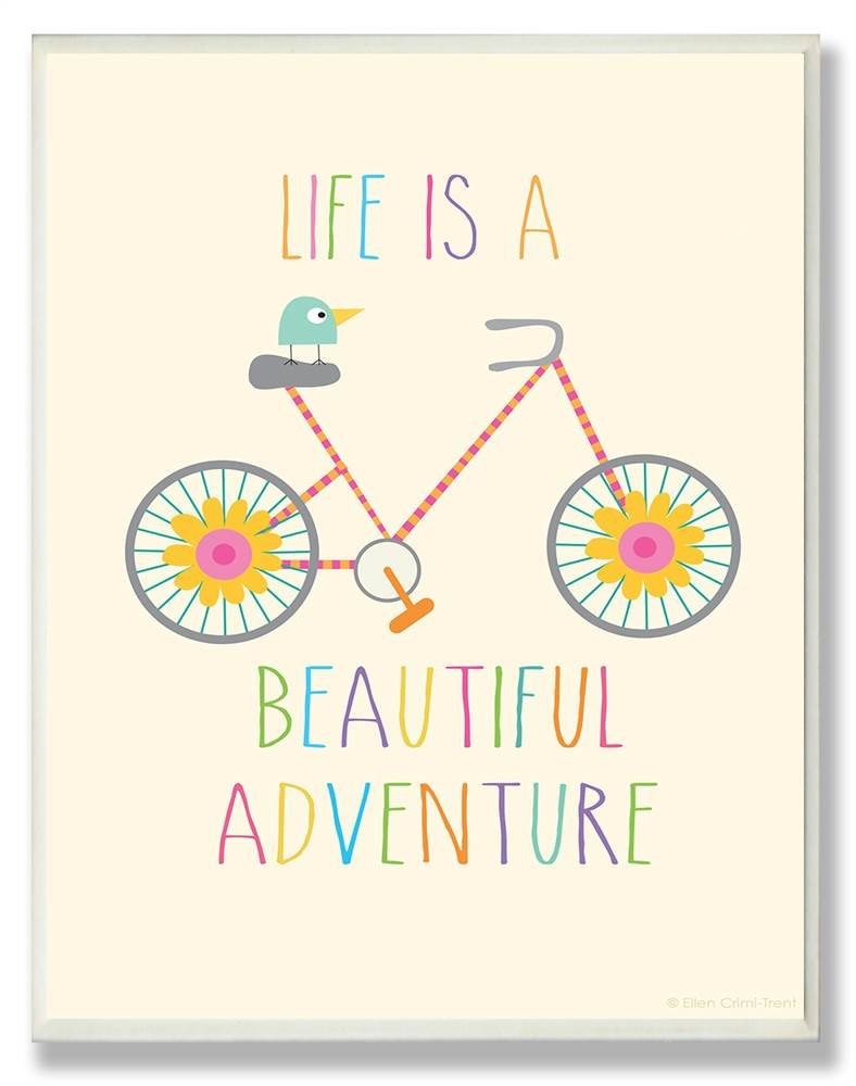 The Kids Room by Stupell Life is A Beautiful Adventure Bird On A Bike Rectangle Wall Plaque, 11 x 0.5 x 15, Proudly Made in USA by The Kids Room by Stupell