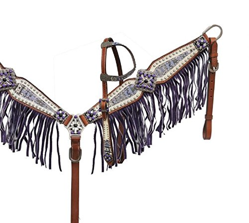 Showman PURPLE One Ear Aztec Print Studded Rhinestone Bling Concho Headstall Fringe Breast Collar Reins Set