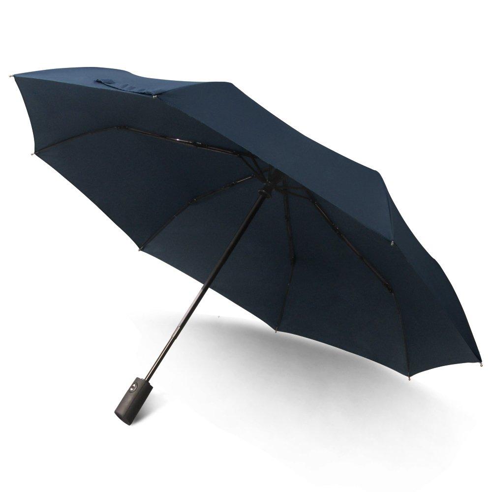 Saiveina Travel Umbrella, Compact Auto Open Close Windproof Rain Umbrella with Teflon Coating, Blue