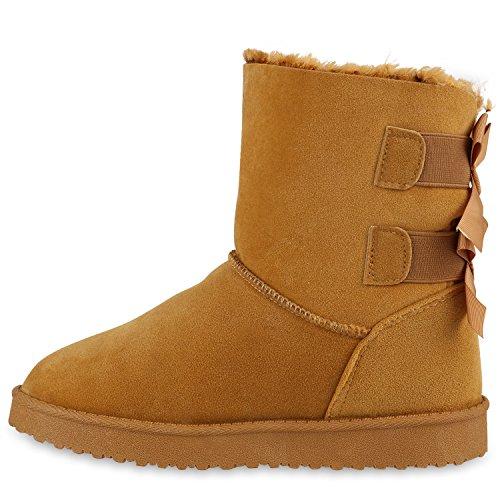 Damen Schlupfstiefel Warm Gefütterte Stiefel Stiefeletten Winter Boots Bommel Pailletten Glitzer Snake Print Schuhe Flandell Hellbraun
