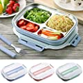 Stainless Steel Thermal Bento Kids Lunch Box Children Divided Food Container