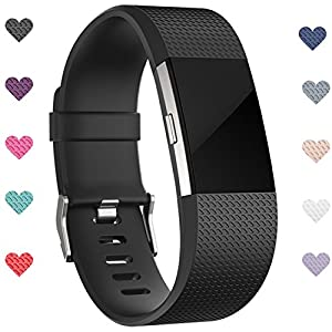 Wepro Replacement Bands for Fitbit Charge 2 HR, Black, Small