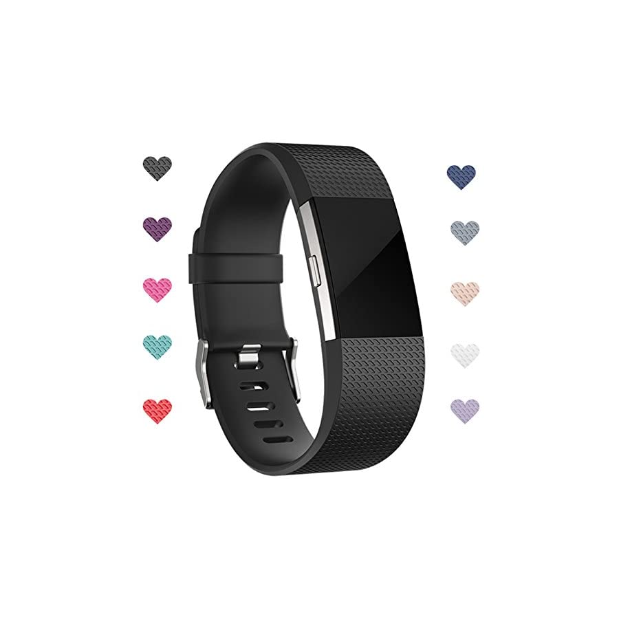 Wepro Bands Replacement for Fitbit Charge 2 HR with Air Holes, Colorful, Large, Small