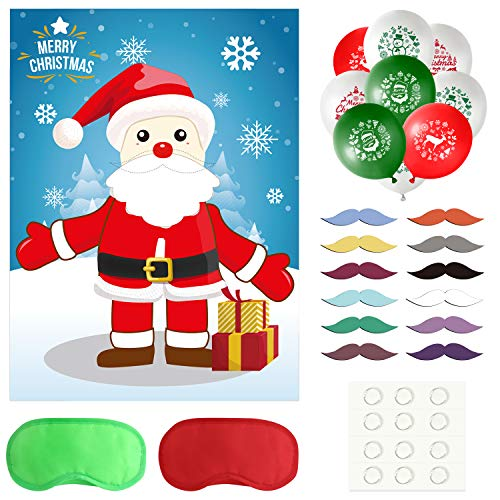TUPARKA Pin the Beard on the Santa Claus Christmas Party Games with 24 Beard Stickers and 20Pcs Christmas Balloons for Christmas Decorations Xmas Gifts
