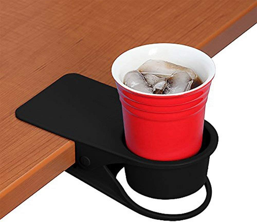 SunnyZoo Cup Holders Home Office Table Desk Side Clip Water Drink Beverage Soda Coffee Mug Holder Cup Clip Design (Black)