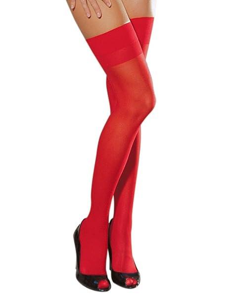 eff4dd0750beb Dreamgirl Halterlose Nylon-Nahtstrümpfe: Moulin, rot: Amazon.de: Bekleidung