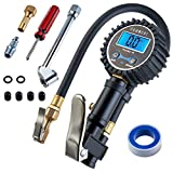 Digital Tire Pressure Gauge - Portable Air Pressure Gauge - Pressure Tool for Truck, Auto, Bike Inner Tube - Small Handheld Pistol Gun Style Heavy Duty Accurate PSI Pump with Hose by Neancer
