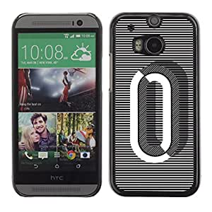 Colorful Printed Hard Protective Back Case Cover Shell Skin for HTC One M8 ( 0 Lines Black White O Zero Nothing )