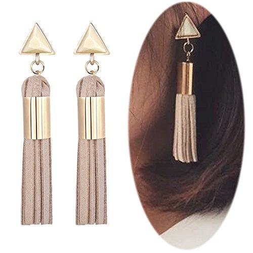 Geometric Fringe (Leather Tassel Dangle Threader Drop Earrings Long Fringe Triangle Studs Women Linear Tribal Charms Jewelry Grey)