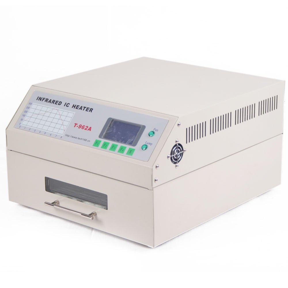 Popsport Infrared Reflow Oven T962A Reflow Soldering Machine 1500W 12 x 13 Inch Infrared IC Heater Reflow Oven Machine for Soldering Various SMD and BGA Components