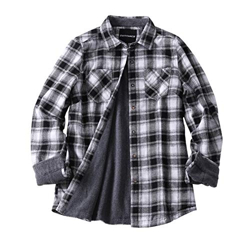 (ZENTHACE Women's Thermal Fleece Lined Plaid Button Down Flannel Shirt Jacket Gray/White XL)
