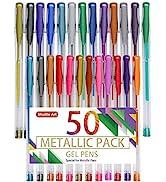Shuttle Art 50 Pack Metallic Gel Pens, 25 Metallic Gel Pens Set with 25 Refills Perfect for Adult...
