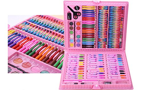 Schoolboy children brush watercolor pen, painting tool gift box ,set stationery.Children painting tool set, watercolor pen,crayons, wax sticks, color pencil, 150 component