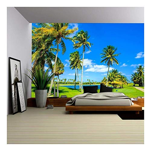 wall26 - Beautiful Golf Course Landscape in Miami. - Removable Wall Mural | Self-adhesive Large Wallpaper - 100x144 inches