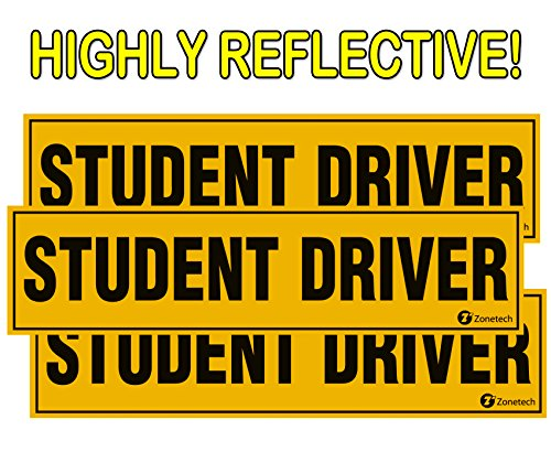 """Zone Tech Set of 3""""Student Driver"""" Vehicle Bumper Magnet - Premium Quality Highly Reflective""""Student Driver"""" Bumper Safety Sign Magnet"""