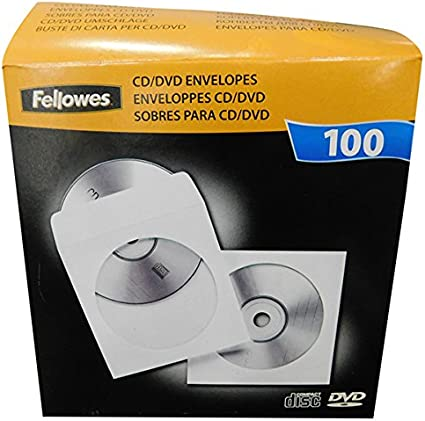 Fellowes - Pack de 100 Sobres de Papel para Disco óptico CDs/DVDs, Color Blanco: Amazon.es: Informática