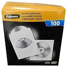 Fellowes - Pack de 100 Sobres de Papel para Disco óptico CDs/DVDs, Color Blanco