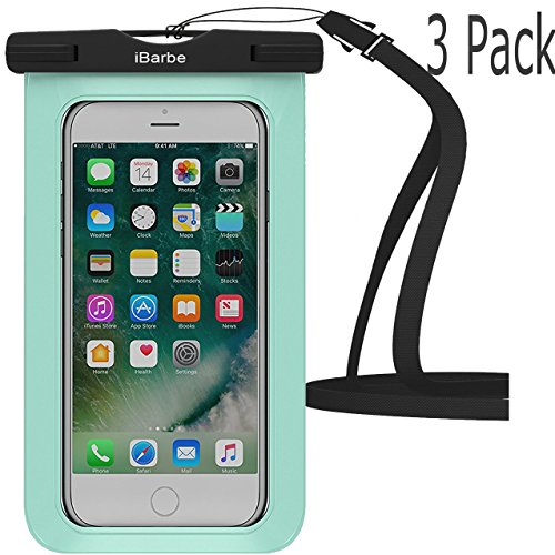 Waterproof Case,3 Pack iBarbe Universal Cell Phone Dry Bag Pouch Underwater Cover for Apple iPhone 7 7 plus 6S 6 6S Plus SE 5S 5c samsung galaxy Note 5 s8 s8 plus S7 S6 Edge s5 etc.to 5.7 inch,Teal