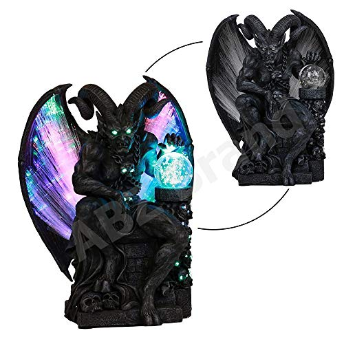 Ball Gargoyle (ABZ Brand Horned Devil Winged Gargoyle Crystal Ball Fiber Optic Statue Figurine Sculpture)