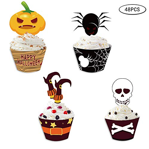 Omgouue Halloween Cupcake Topper Wrapper Party Supplies,Pumpkin/Spider/Witch's Boot/Skull Dish Decoration 48pcs