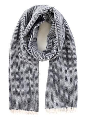 - Women's Winter Fringed Herringbone Wool Scarf 100% Made In Italy - Soft, Warm, Comfy (Ecru, Blue)