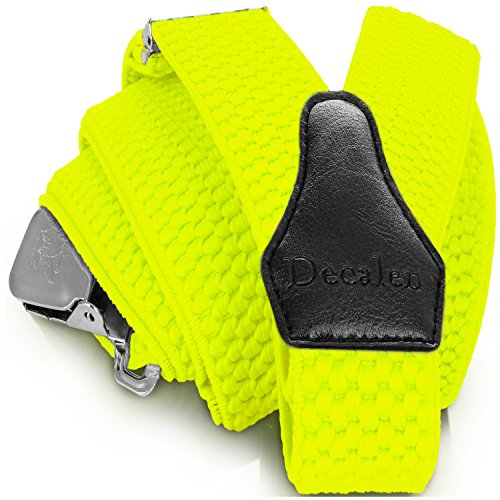 Decalen Mens Suspenders with Very Strong Clips Heavy Duty One Size Fits All Big and Tall Wide Adjustable and Elastic Braces Y Back Shape (Yellow Neon)