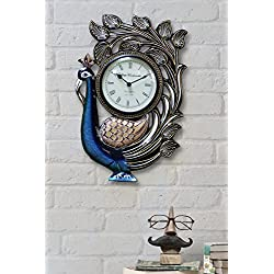 Traditional Peacock Shaped Decorative Wall Clock with Roman Numeral Clock