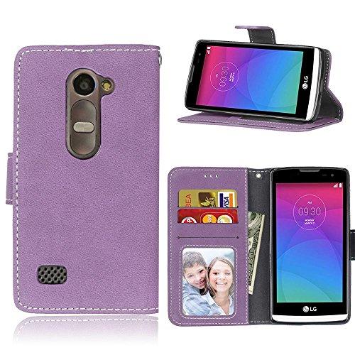 YHUISEN Estilo retro de color sólido Premium PU cuero cartera de la caja Flip Folio cubierta protectora de la caja con ranura para tarjeta / soporte para LG Leon 4G LTE C40 H340N ( Color : Beige ) Purple