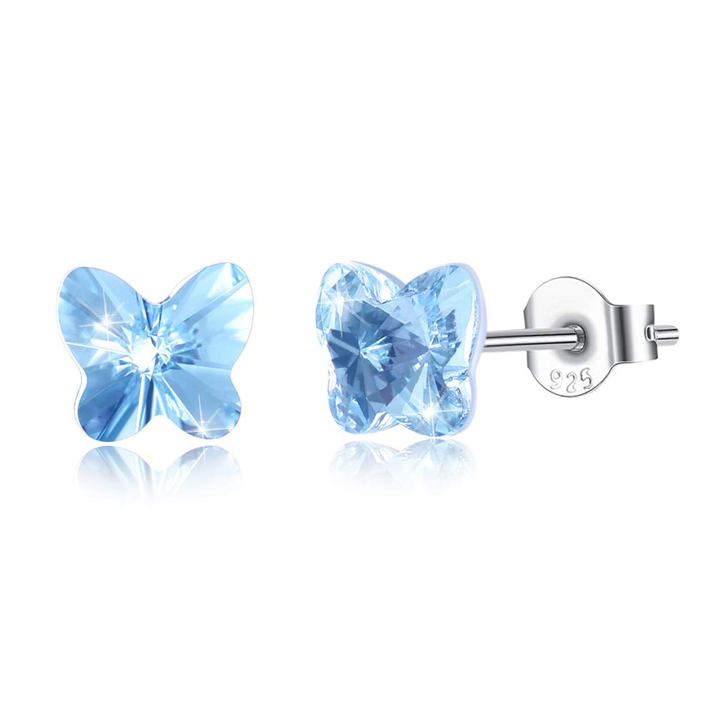 67a722254d1ca Amazon.com: Tiny Sterling Silver Butterfly Stud Earrings for Women ...