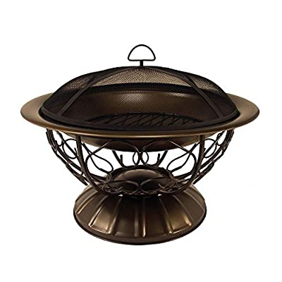 Catalina Creations Durable Round Steel Wood Burning Outdoor Patio Fire Pit with Spark Screen Guard, Log Grate, Screen Lifting Tool and Antique Bronze Finish
