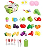 30Pcs Pretend Play Food Set, Pawaca Kitchen Toys Fun Cutting Fruits and Vegetables Cutting Food Set For Kids With A Basket