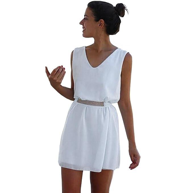 vestidos de mujer,Switchali Mujer verano elegantes Casual gasa casual sin mangas vestido de fiesta