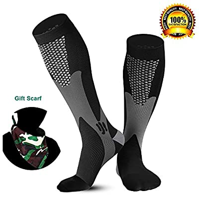 Compression Socks 20-30mmHg Men Women 1 or 2 Pairs with Sport Bandana,fit for Medical,Athletic,Travel,Running,Nurse,Crossfit,Best for Enhance Circulation Muscle Recovery