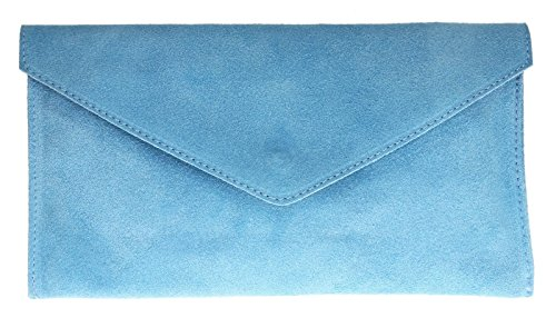 NEW Womens Verapelle Genuine Italian Suede Envelope Shaped Clutch Bag Womens /Ladies Rebecca Clutch Light Blue