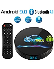 Android 9.0 TV Box, Android Box 4 GB RAM 64 GB ROM, Livebox L1 Plus Quad Core 64 bit Smart TV Box, Wi-Fi-Dual 5G/2.4G, BT 4.1, Box TV UHD 4K TV, USB 3.0