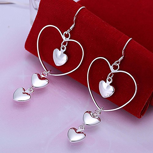 PMANY 925 Sterling Silver Plated Hearts Long Drop Dangling Earring (Dancing heart) (Set Heart Drop Earring)