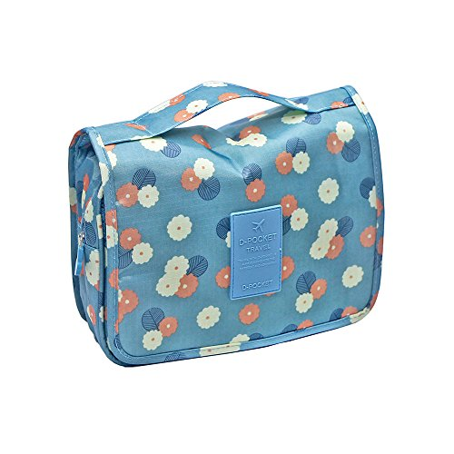 The Large Capacity Travel Storage Bag Hanging Wash Gargle Bags Portable Cosmetic Bag(Daisy Mint)